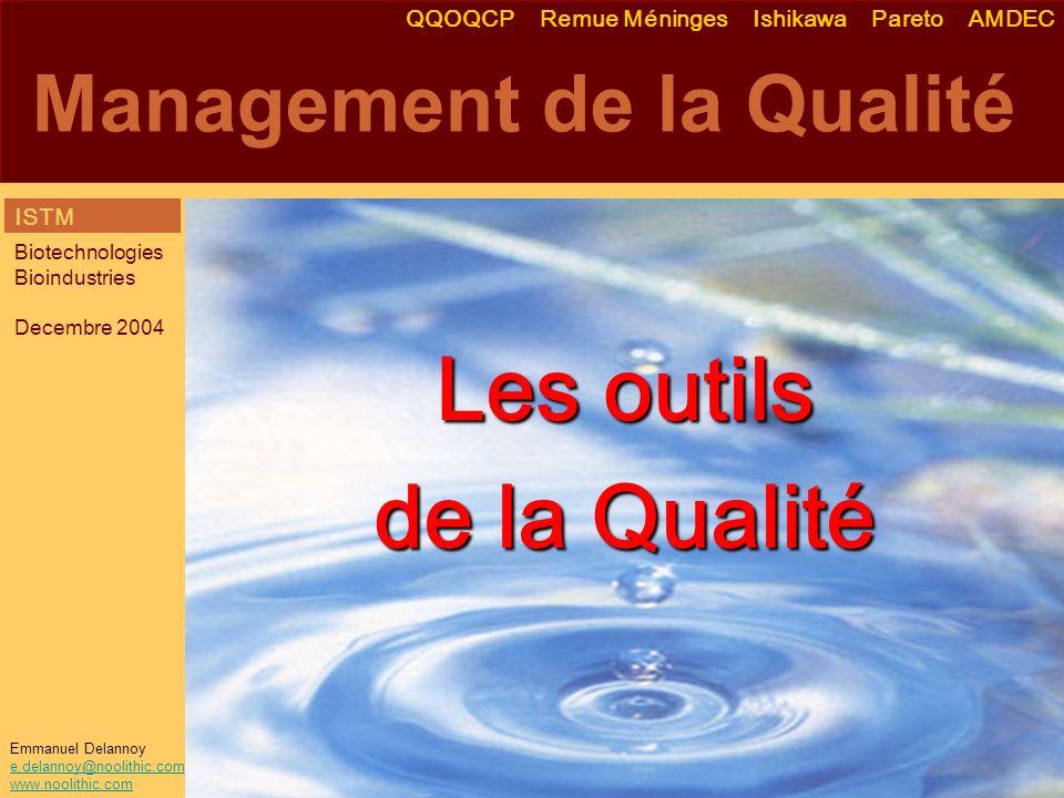 Emmanuel Delannoy e.delannoy@noolithic.com www.noolithic.com Management de la Qualité Les outils de la Qualité QQOQCP Remue Méninges Ishikawa Pareto A