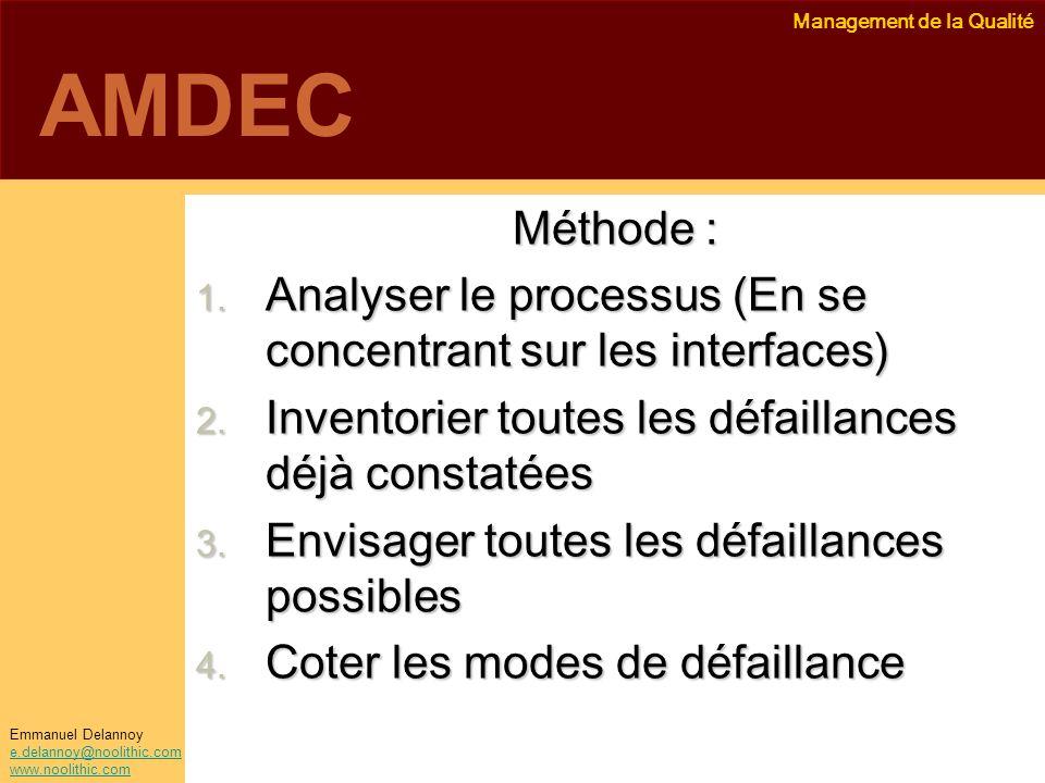 Management de la Qualité Emmanuel Delannoy e.delannoy@noolithic.com www.noolithic.com AMDEC Méthode : 1. Analyser le processus (En se concentrant sur