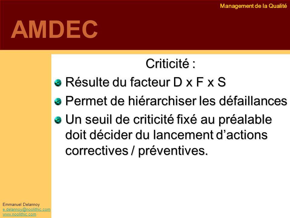 Management de la Qualité Emmanuel Delannoy e.delannoy@noolithic.com www.noolithic.com AMDEC Criticité : Résulte du facteur D x F x S Permet de hiérarc