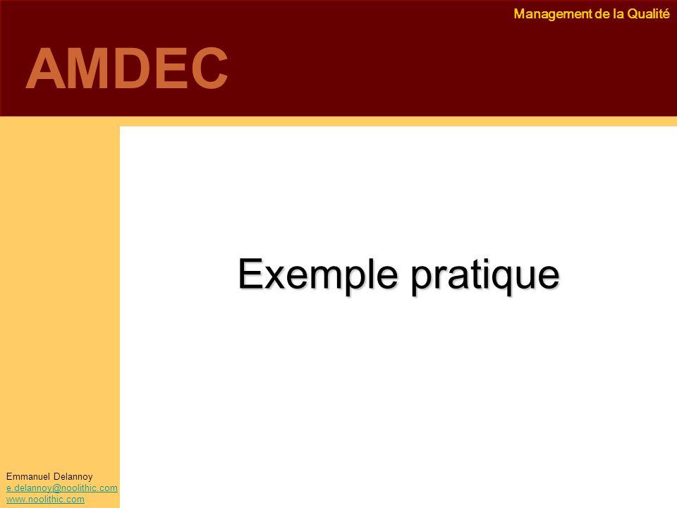 Management de la Qualité Emmanuel Delannoy e.delannoy@noolithic.com www.noolithic.com AMDEC Exemple pratique