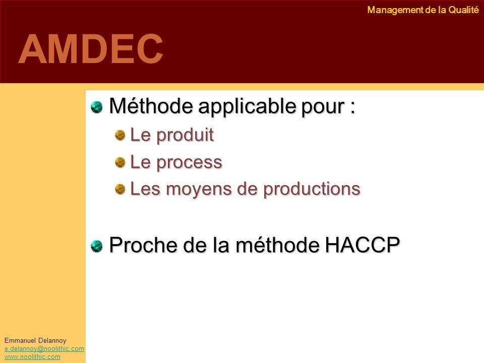 Management de la Qualité Emmanuel Delannoy e.delannoy@noolithic.com www.noolithic.com AMDEC Méthode applicable pour : Le produit Le process Les moyens