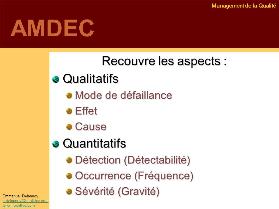 Management de la Qualité Emmanuel Delannoy e.delannoy@noolithic.com www.noolithic.com AMDEC Recouvre les aspects : Qualitatifs Mode de défaillance Eff