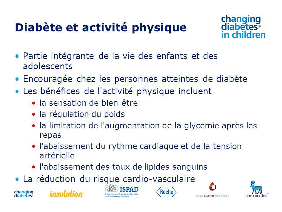 Diabète et activité physique Partie intégrante de la vie des enfants et des adolescents Encouragée chez les personnes atteintes de diabète Les bénéfic