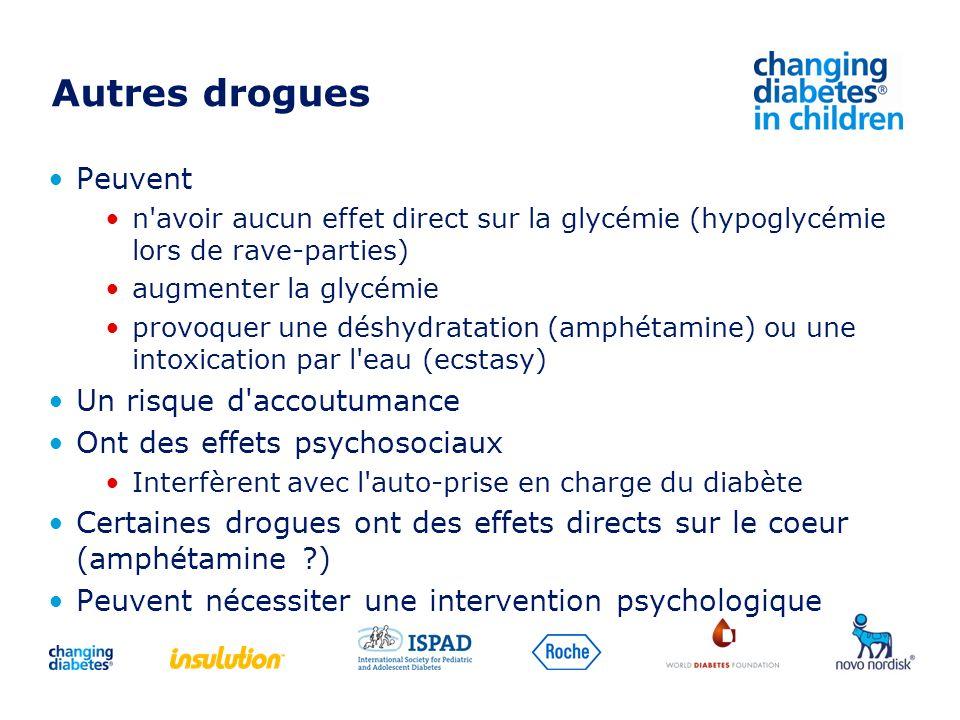 Autres drogues Peuvent n'avoir aucun effet direct sur la glycémie (hypoglycémie lors de rave-parties) augmenter la glycémie provoquer une déshydratati