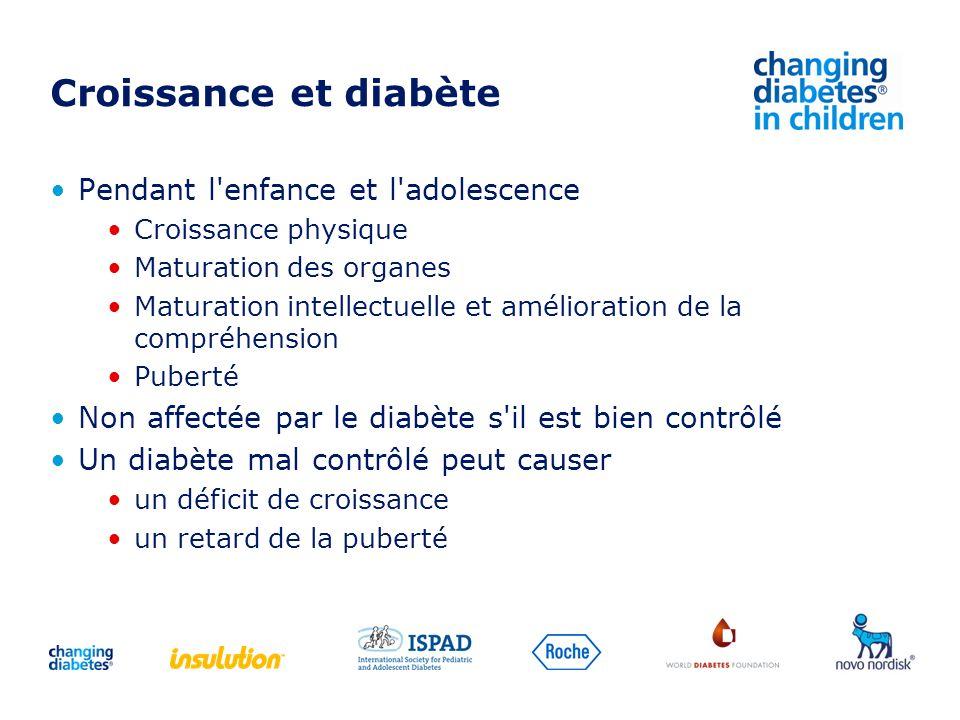 Croissance et diabète Pendant l'enfance et l'adolescence Croissance physique Maturation des organes Maturation intellectuelle et amélioration de la co