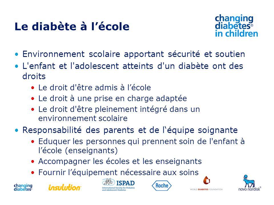 Le diabète à lécole Environnement scolaire apportant sécurité et soutien L'enfant et l'adolescent atteints d'un diabète ont des droits Le droit d'être