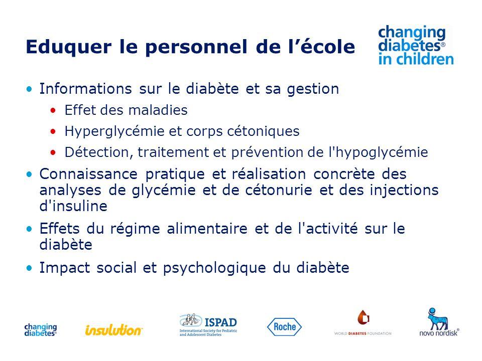 Eduquer le personnel de lécole Informations sur le diabète et sa gestion Effet des maladies Hyperglycémie et corps cétoniques Détection, traitement et