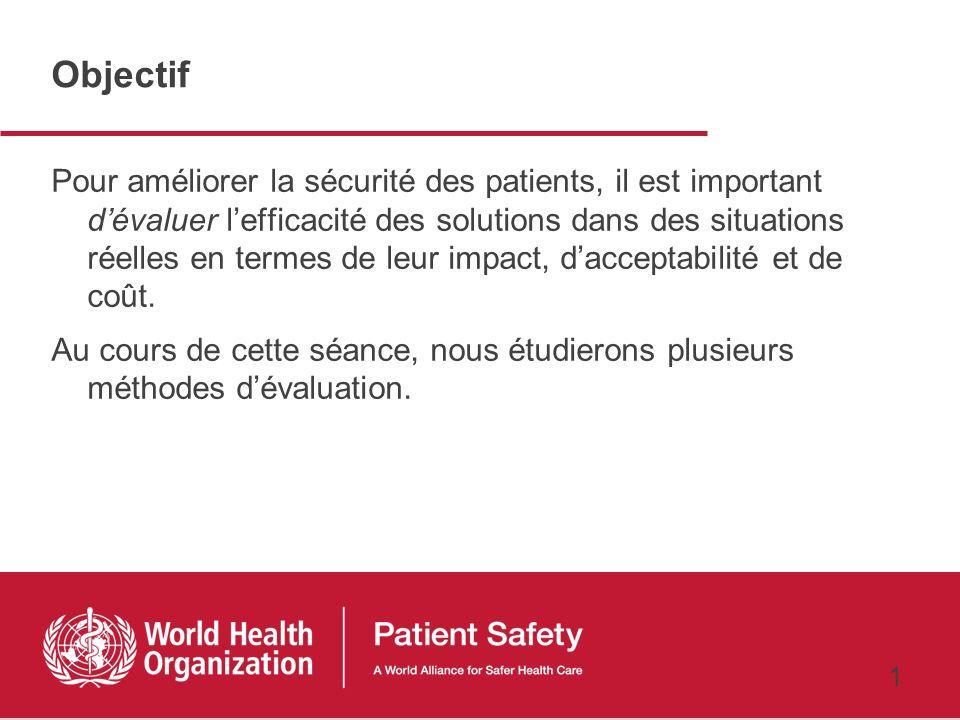 Recherche pour la Sécurité des patients Cours préparatoire 6ème Séance Comment évaluer limpact des actions ? Mondher Letaief, MD, MPH 24 février 2011