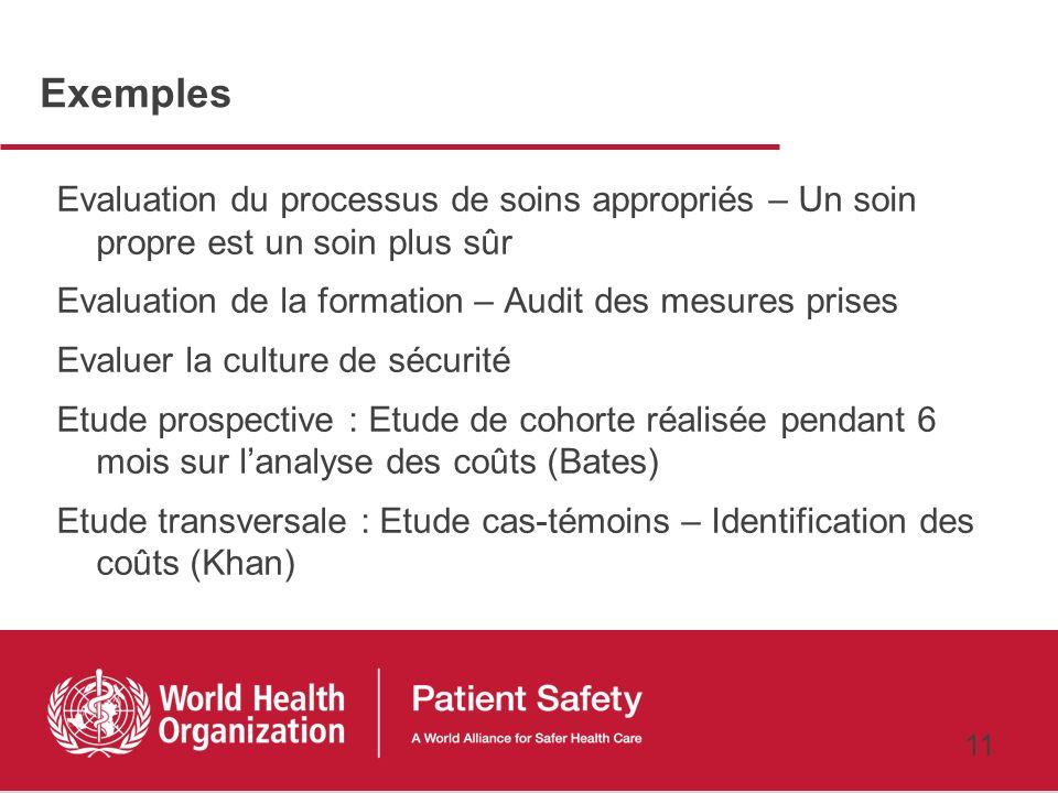 10 Mesures de sécurité Dommages occasionnés (résultats) Soins appropriés (processus défini de façon claire et précise) Formation Culture de sécurité