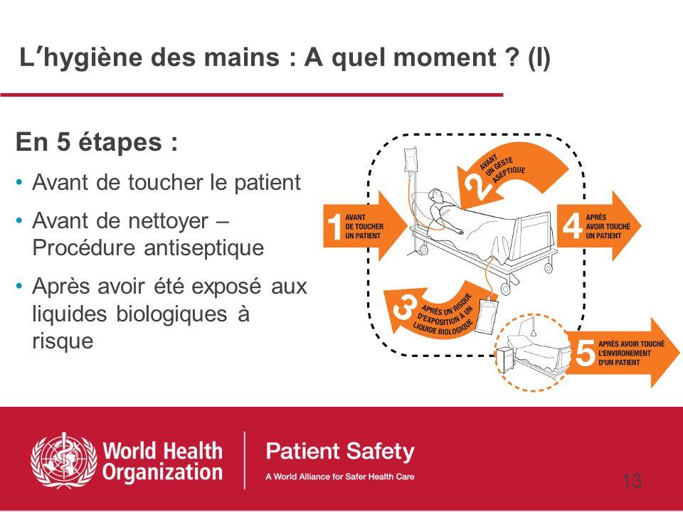 12 Premier défi mondial pour la sécurité des patients Un soin propre est un soin plus sûr Recommandations de lOMS pour lhygiène des mains au cours des