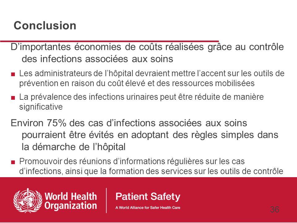 35 Résultats : analyse des coûts Durée moyenne dhospitalisation dun patient infecté (21,4 jours) plus longue que celle dun patient non-infecté (17,5 j