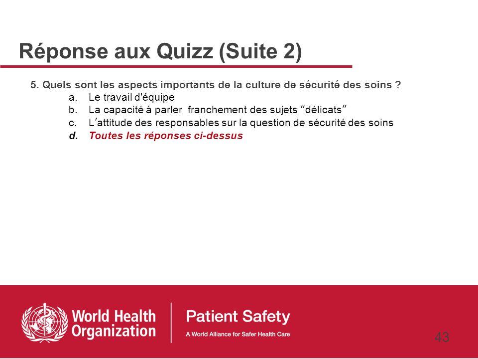 42 3. Quest ce qui pourrait persuader les responsables dun hôpital à investir dans la sécurité des soins ? a.Une intervention qui augmente la sécurité