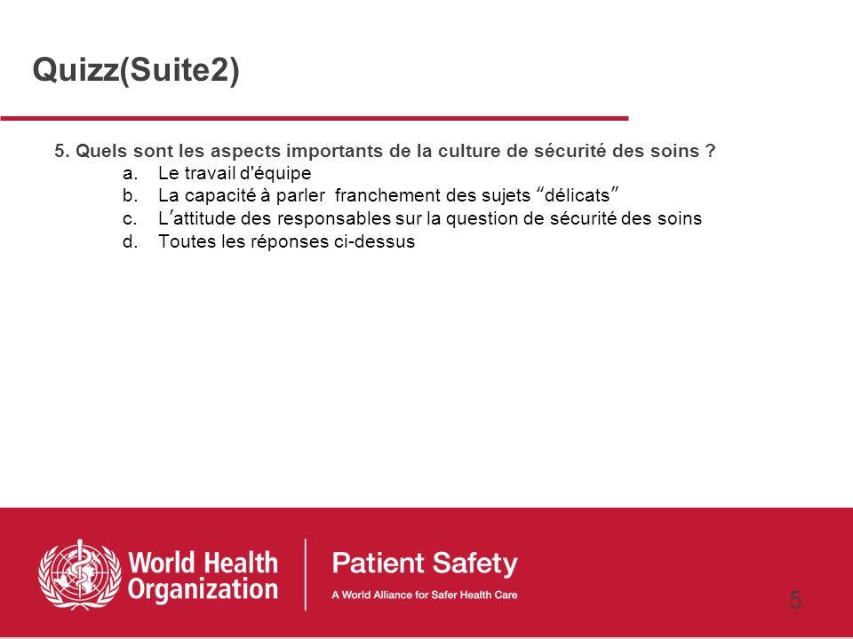 4 3. Quest ce qui pourrait persuader les responsables dun hôpital à investir dans la sécurité des soins ? a.Une intervention qui augmente la sécurité,