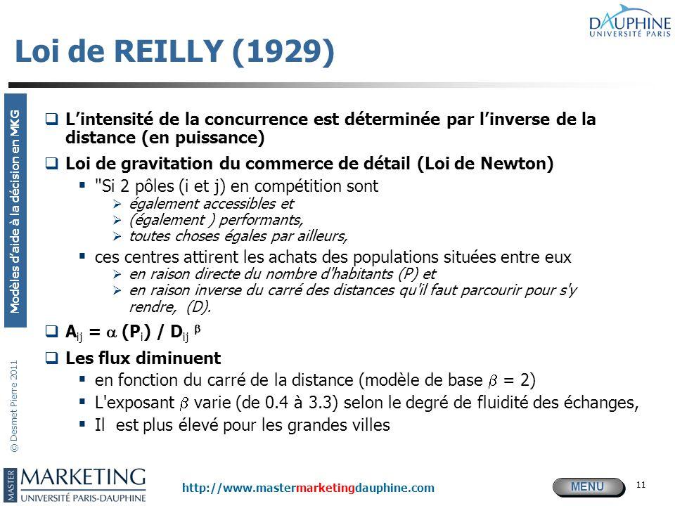 MENU Modèles daide à la décision en MKG http://www.mastermarketingdauphine.com © Desmet Pierre 2011 11 Loi de REILLY (1929) Lintensité de la concurren