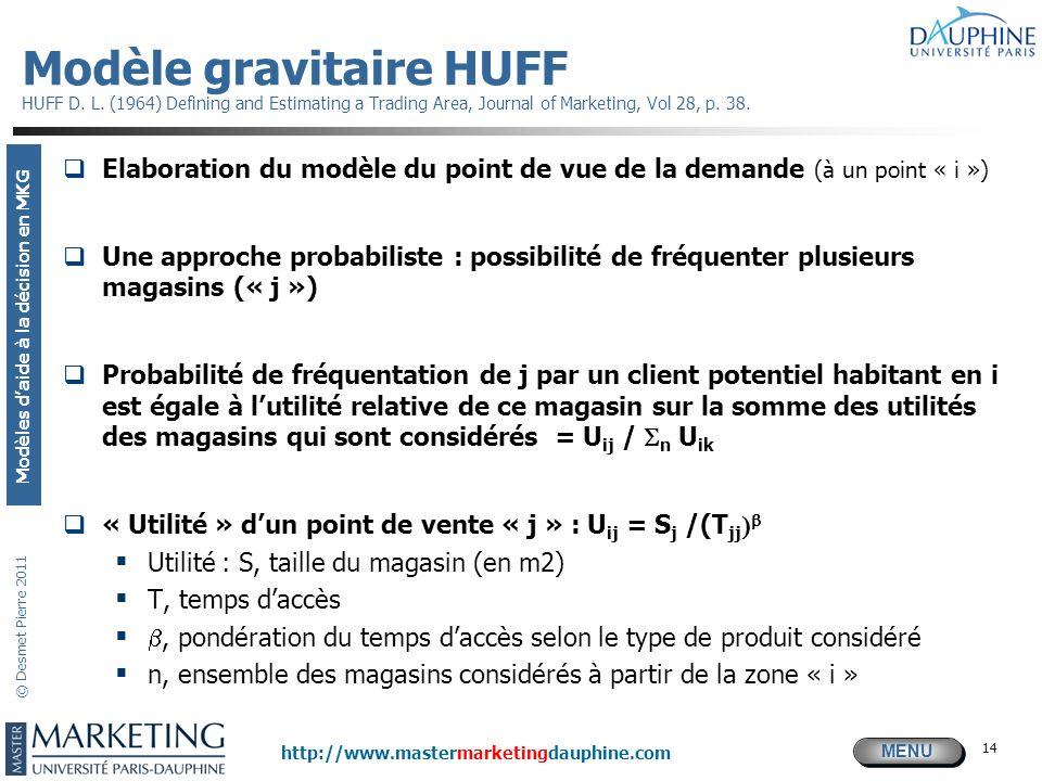 MENU Modèles daide à la décision en MKG http://www.mastermarketingdauphine.com © Desmet Pierre 2011 14 Modèle gravitaire HUFF HUFF D. L. (1964) Defini