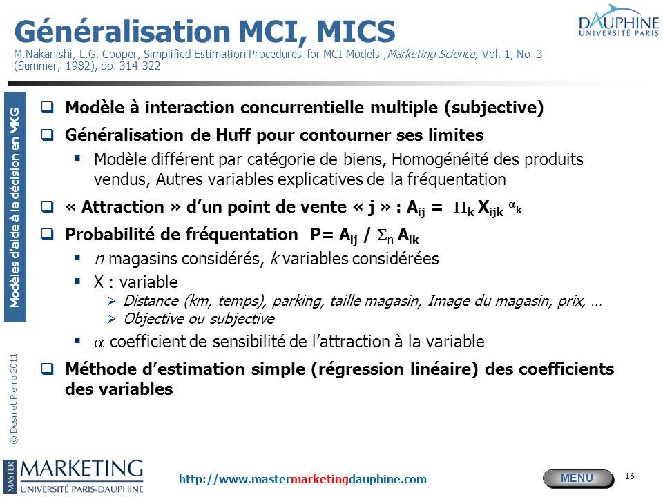 MENU Modèles daide à la décision en MKG http://www.mastermarketingdauphine.com © Desmet Pierre 2011 16 Généralisation MCI, MICS M.Nakanishi, L.G. Coop