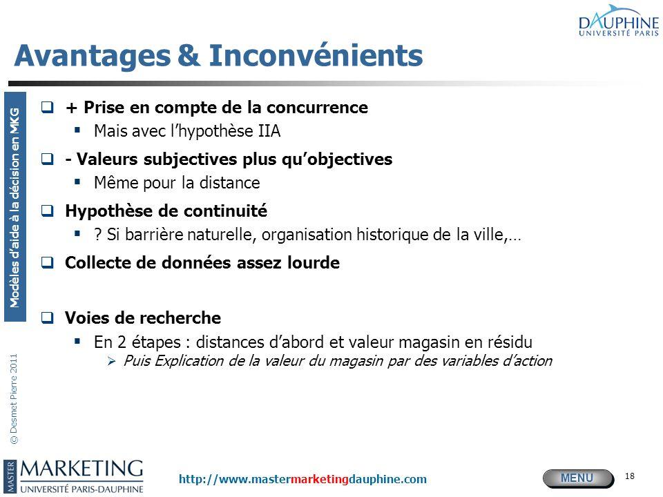 MENU Modèles daide à la décision en MKG http://www.mastermarketingdauphine.com © Desmet Pierre 2011 18 Avantages & Inconvénients + Prise en compte de
