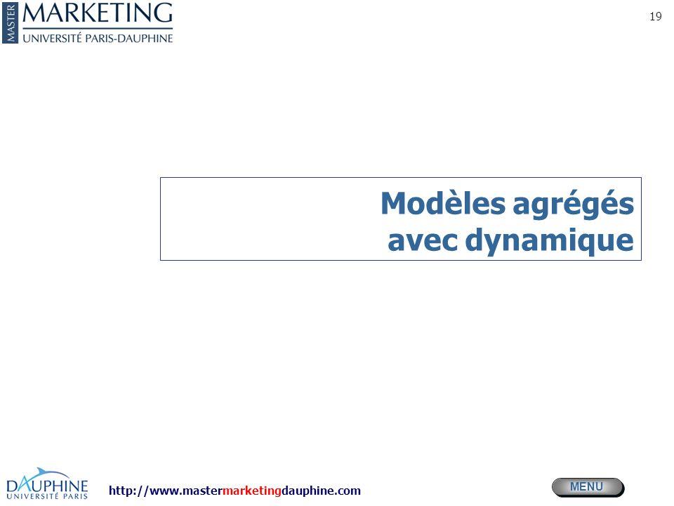 http://www.mastermarketingdauphine.com MENU 19 Modèles agrégés avec dynamique