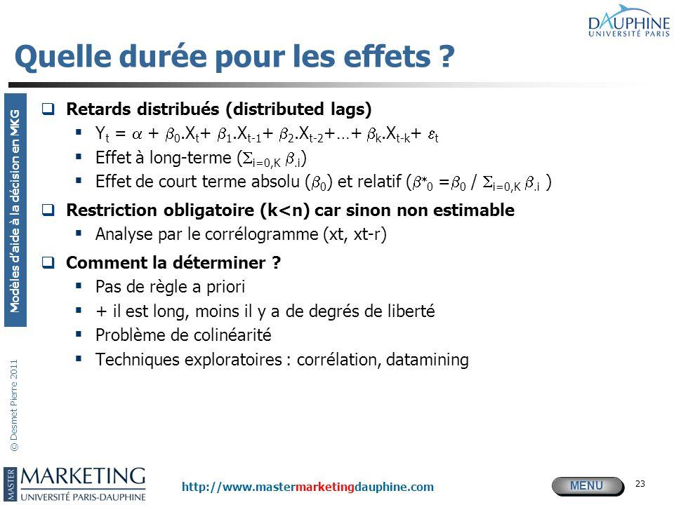 MENU Modèles daide à la décision en MKG http://www.mastermarketingdauphine.com © Desmet Pierre 2011 23 Quelle durée pour les effets ? Retards distribu