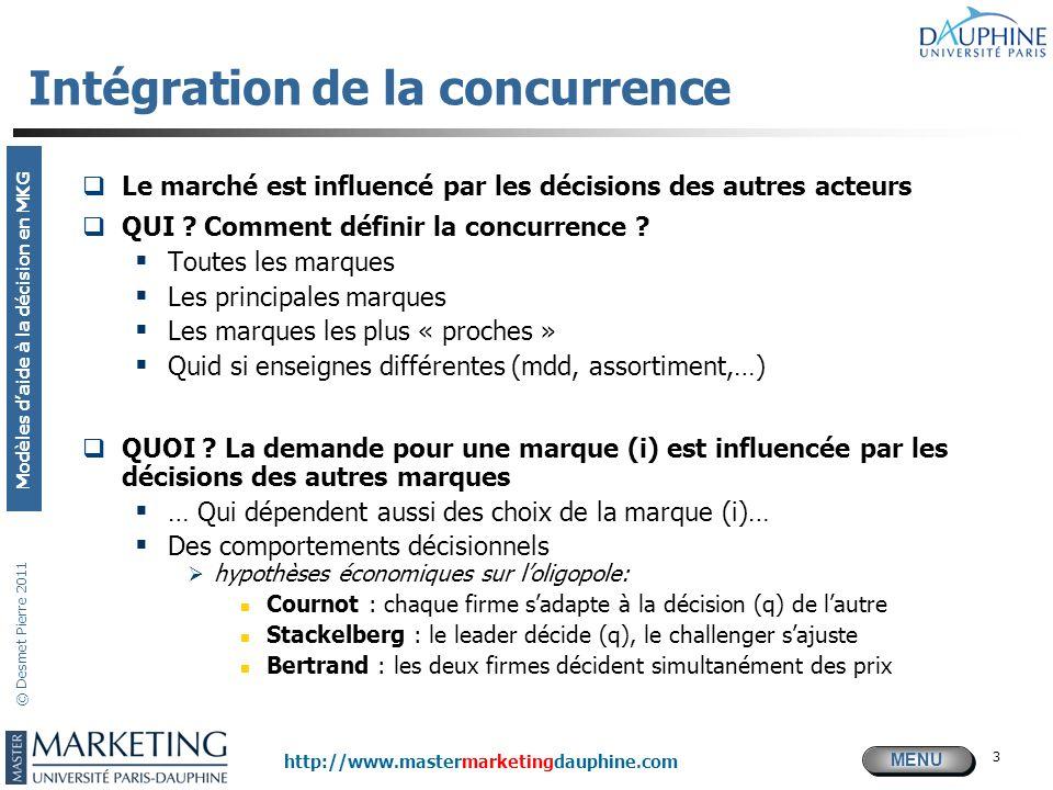 MENU Modèles daide à la décision en MKG http://www.mastermarketingdauphine.com © Desmet Pierre 2011 3 Intégration de la concurrence Le marché est infl