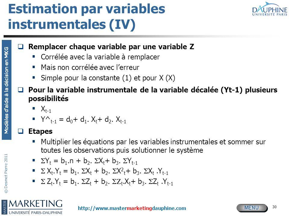 MENU Modèles daide à la décision en MKG http://www.mastermarketingdauphine.com © Desmet Pierre 2011 30 Estimation par variables instrumentales (IV) Re