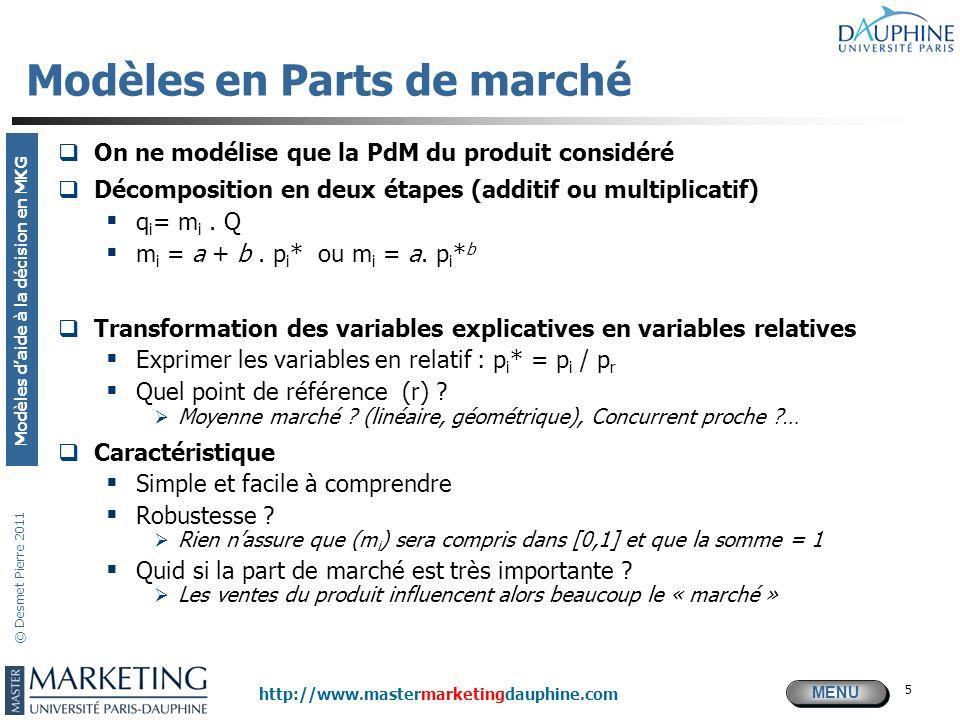 MENU Modèles daide à la décision en MKG http://www.mastermarketingdauphine.com © Desmet Pierre 2011 5 Modèles en Parts de marché On ne modélise que la