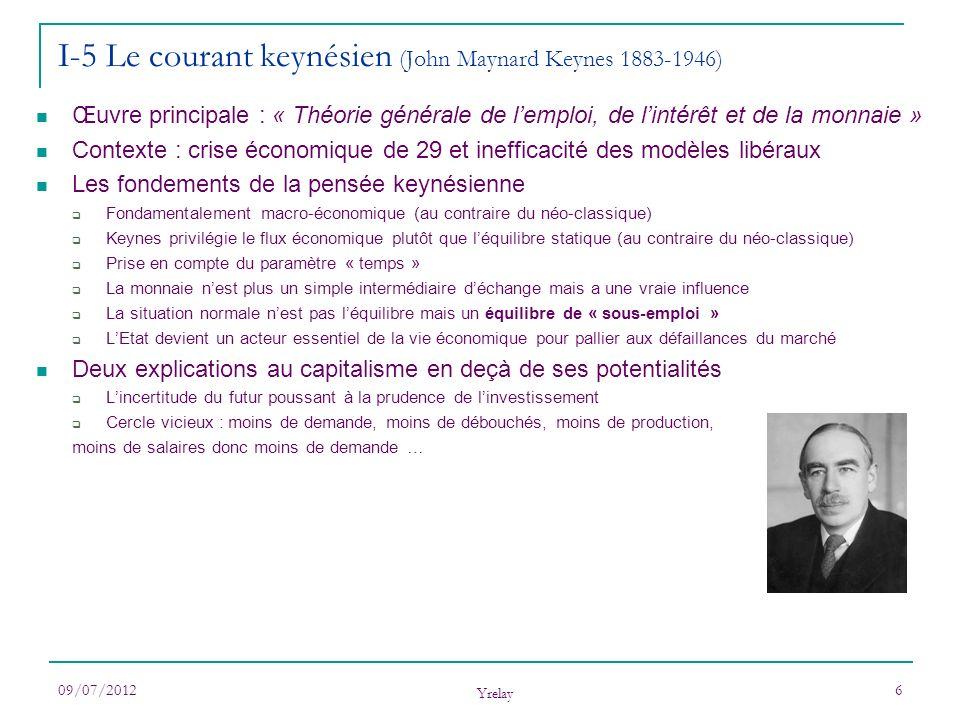 09/07/2012 Yrelay 6 I-5 Le courant keynésien (John Maynard Keynes 1883-1946) Œuvre principale : « Théorie générale de lemploi, de lintérêt et de la mo