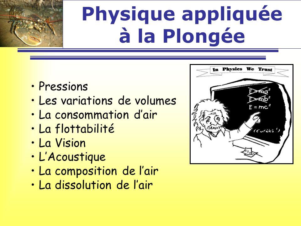 Physique appliquée à la Plongée Pressions Les variations de volumes La consommation dair La flottabilité La Vision LAcoustique La composition de lair