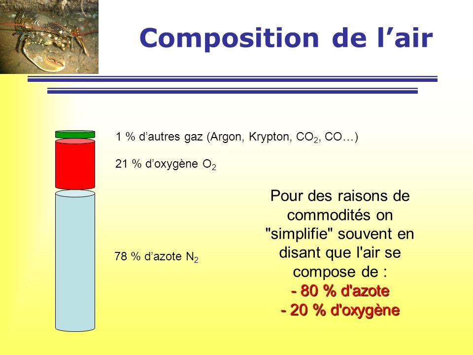 Composition de lair 78 % dazote N 2 21 % doxygène O 2 1 % dautres gaz (Argon, Krypton, CO 2, CO…) Pour des raisons de commodités on