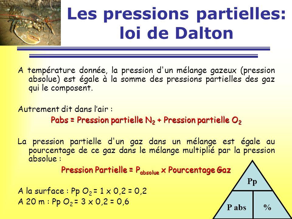 Les pressions partielles: loi de Dalton A température donnée, la pression d'un mélange gazeux (pression absolue) est égale à la somme des pressions pa