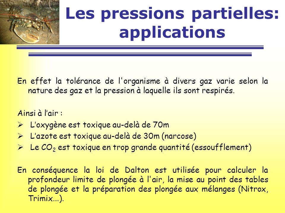 Les pressions partielles: applications En effet la tolérance de l'organisme à divers gaz varie selon la nature des gaz et la pression à laquelle ils s