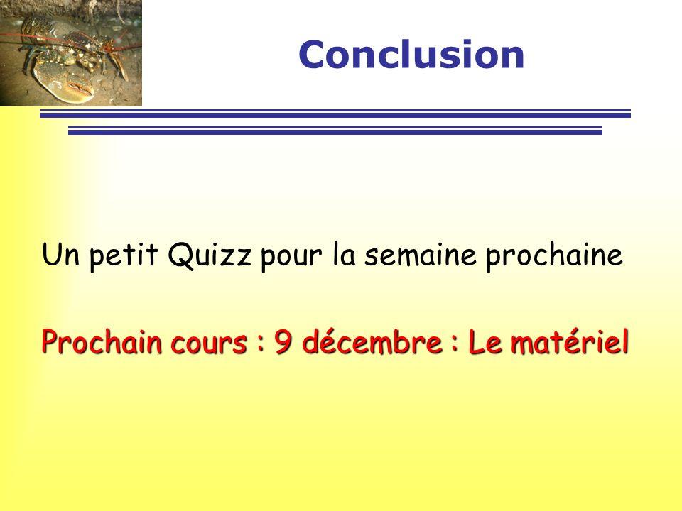 Conclusion Un petit Quizz pour la semaine prochaine Prochain cours : 9 décembre : Le matériel