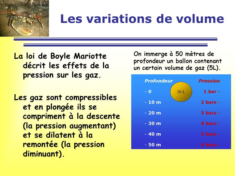 Les variations de volume La loi de Boyle Mariotte peut sécrire de la manière suivante : P x V = constante ou encore P1 x V1 = P2 x V2 = P3 x V3 … Volume 1 x 30 = 30 2 x 15 = 30 3 x 10 = 30 4 x 7,5 = 30 5 x 6 = 30 6 x 5 = 30 Cest à dire :