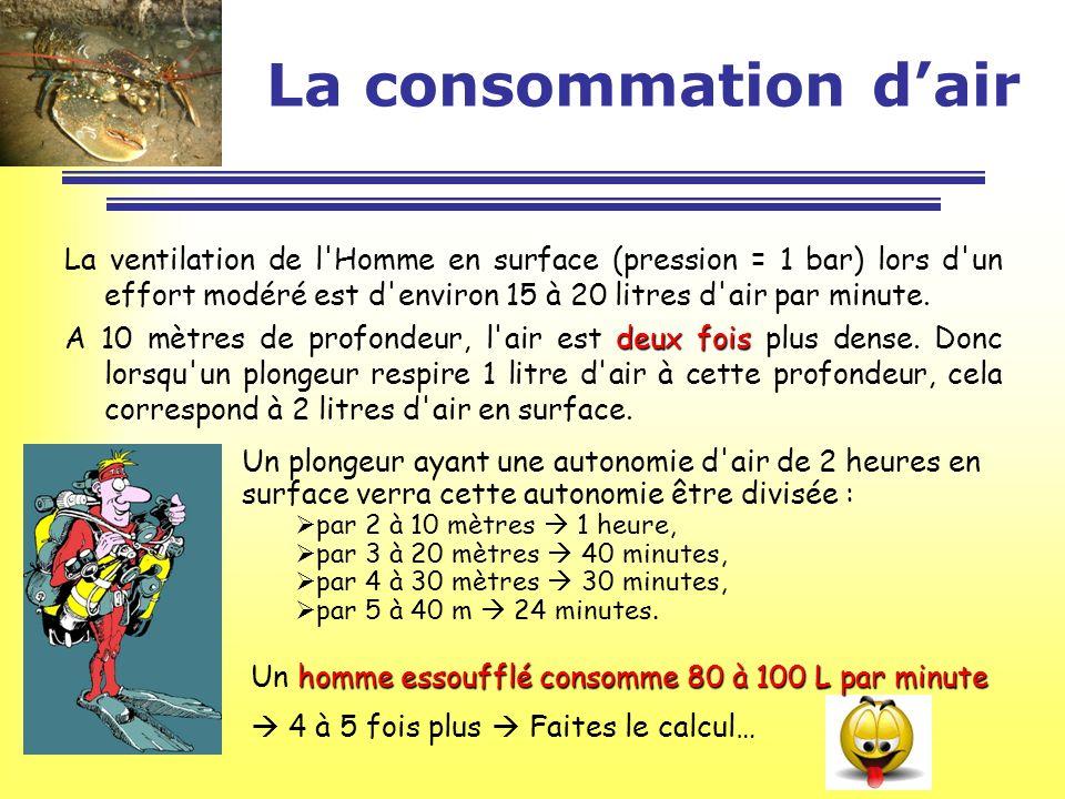 La consommation dair La ventilation de l'Homme en surface (pression = 1 bar) lors d'un effort modéré est d'environ 15 à 20 litres d'air par minute. de
