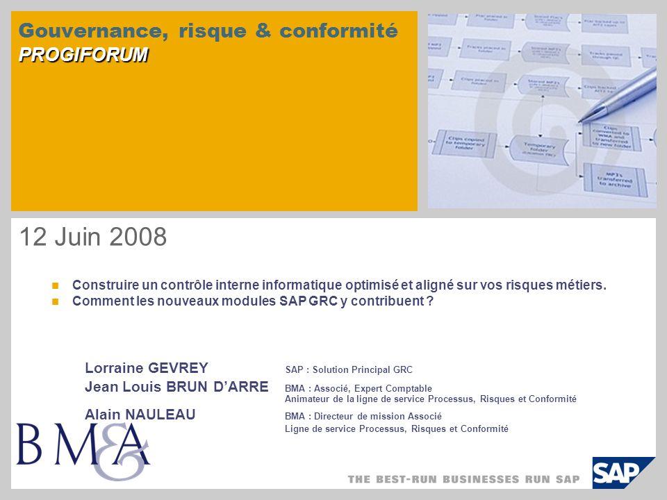 PROGIFORUM Gouvernance, risque & conformité PROGIFORUM 12 Juin 2008 Construire un contrôle interne informatique optimisé et aligné sur vos risques mét