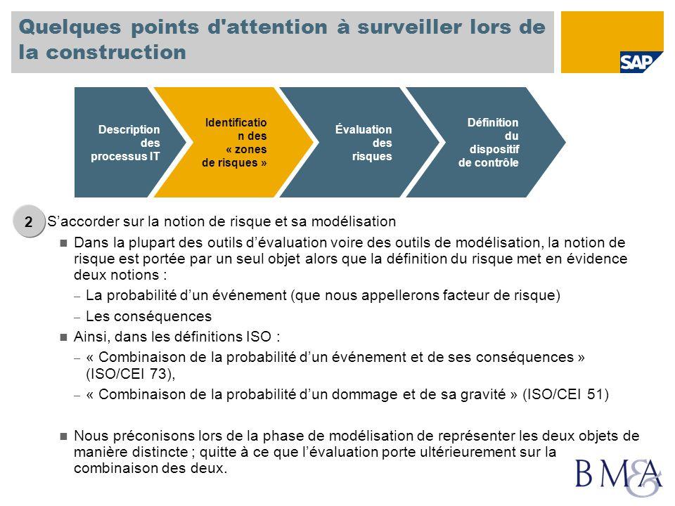 Quelques points d'attention à surveiller lors de la construction Saccorder sur la notion de risque et sa modélisation Dans la plupart des outils déval
