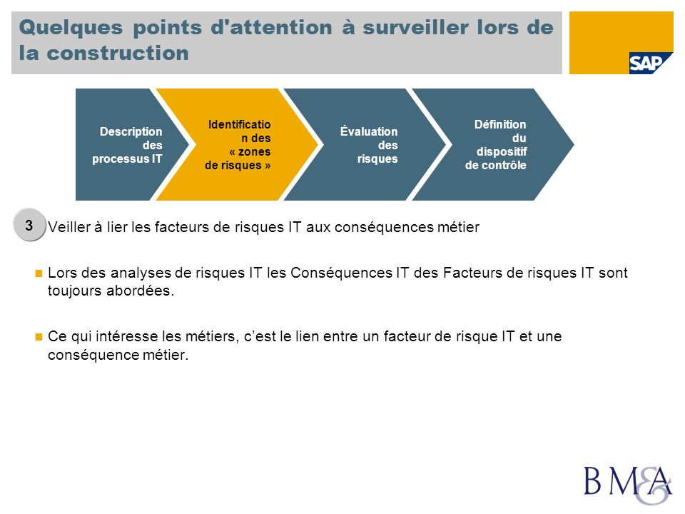 Quelques points d'attention à surveiller lors de la construction Veiller à lier les facteurs de risques IT aux conséquences métier Lors des analyses d