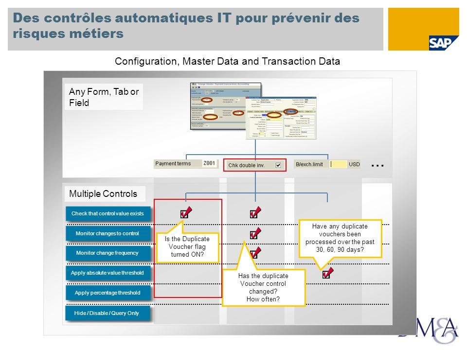 Multiple Controls Des contrôles automatiques IT pour prévenir des risques métiers Any Form, Tab or Field... Apply percentage thresholdApply absolute v