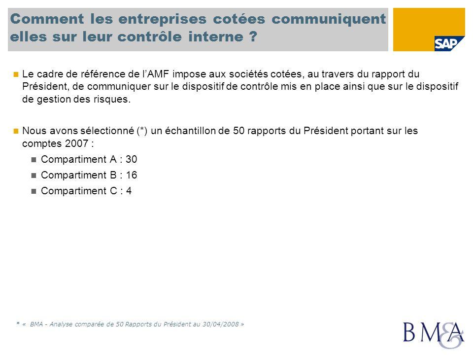 Comment les entreprises cotées communiquent elles sur leur contrôle interne ? Le cadre de référence de lAMF impose aux sociétés cotées, au travers du