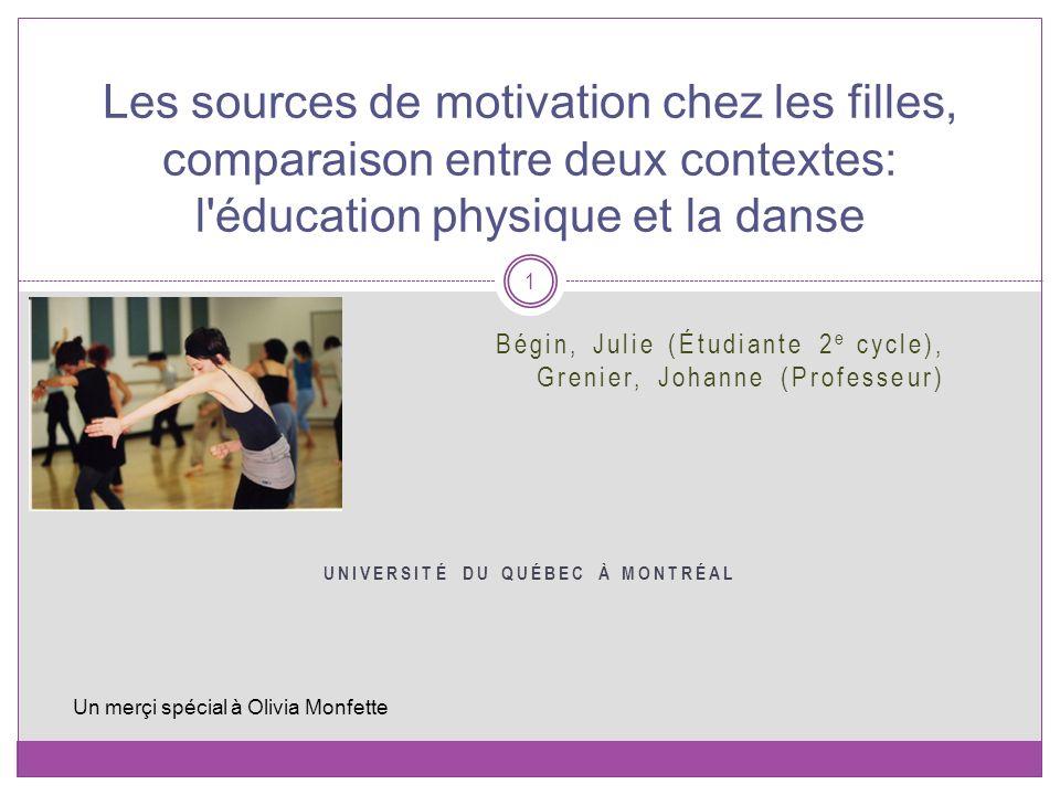 Bégin, Julie (Étudiante 2 e cycle), Grenier, Johanne (Professeur) UNIVERSITÉ DU QUÉBEC À MONTRÉAL Les sources de motivation chez les filles, comparais