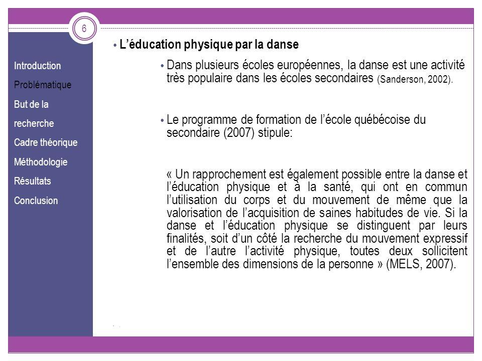 Introduction Problématique But de la recherche Cadre théorique Méthodologie Résultats Conclusion 6 Léducation physique par la danse Dans plusieurs éco