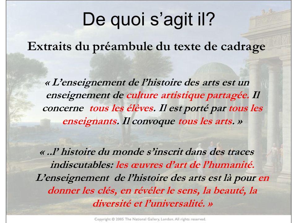 HISTOIRE DES ARTS De quoi sagit il? Extraits du préambule du texte de cadrage « Lenseignement de lhistoire des arts est un enseignement de culture art