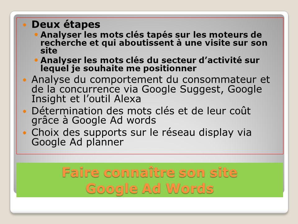 Faire connaître son site Google Ad Words Deux étapes Analyser les mots clés tapés sur les moteurs de recherche et qui aboutissent à une visite sur son