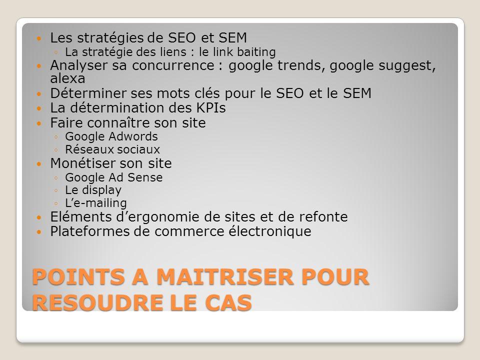 POINTS A MAITRISER POUR RESOUDRE LE CAS Les stratégies de SEO et SEM La stratégie des liens : le link baiting Analyser sa concurrence : google trends,