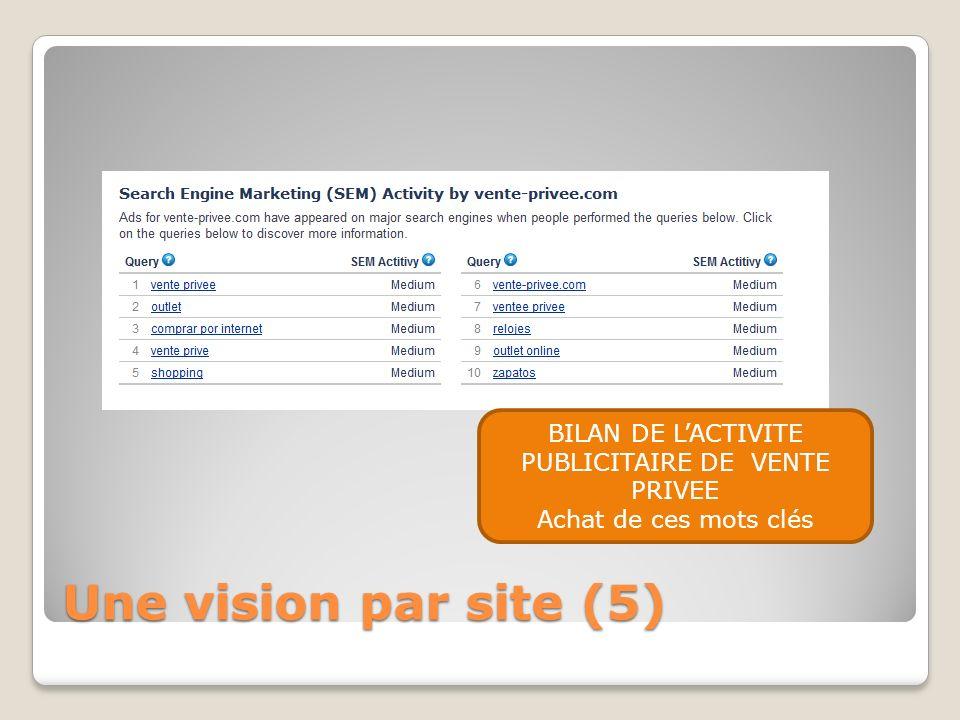 Une vision par site (5) BILAN DE LACTIVITE PUBLICITAIRE DE VENTE PRIVEE Achat de ces mots clés
