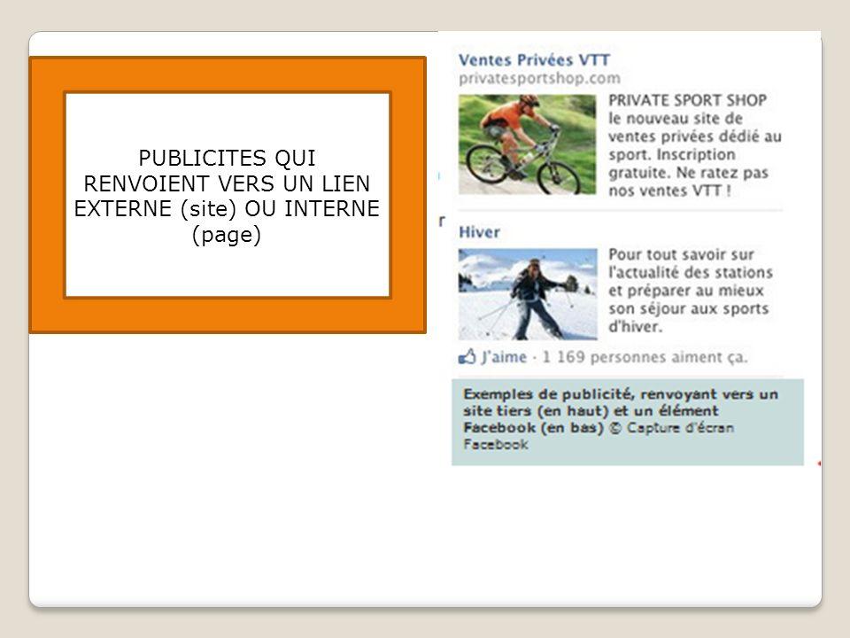 PUBLICITES QUI RENVOIENT VERS UN LIEN EXTERNE (site) OU INTERNE (page)