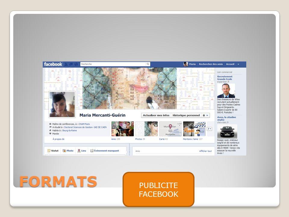 FORMATS PUBLICITE FACEBOOK