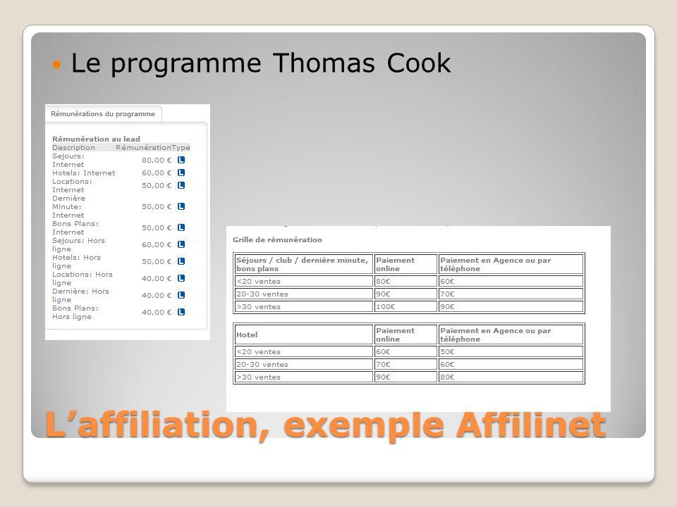 Laffiliation, exemple Affilinet Le programme Thomas Cook