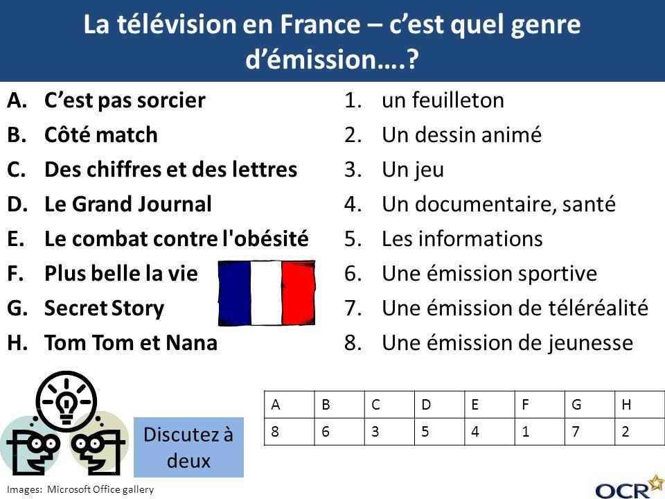 La télévision en France – cest quel genre démission….? 1.un feuilleton 2.Un dessin animé 3.Un jeu 4.Un documentaire, santé 5.Les informations 6.Une ém
