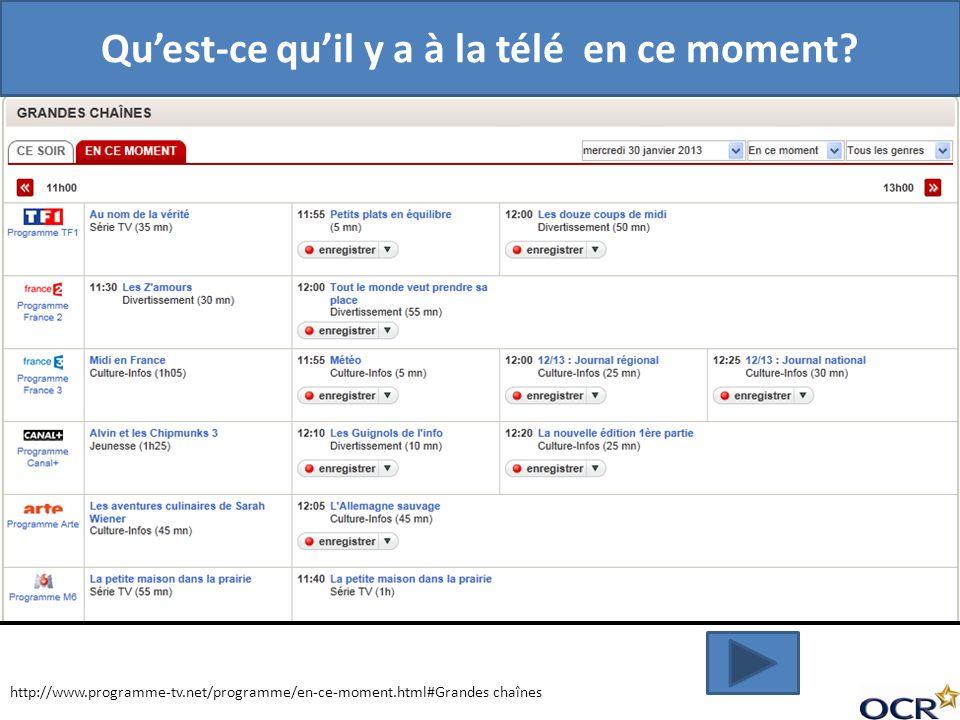 http://www.programme-tv.net/programme/en-ce-moment.html#Grandes chaînes Quest-ce quil y a à la télé en ce moment?